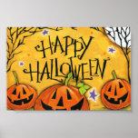 Calabazas del feliz Halloween Póster