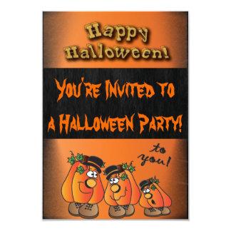 """Calabazas del fiesta de Halloween de la diversión Invitación 3.5"""" X 5"""""""