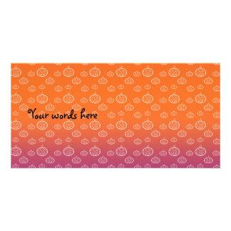 Calabazas en anaranjado y púrpura tarjeta personal con foto