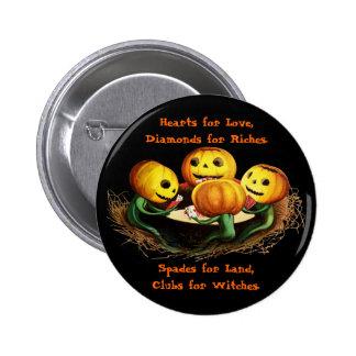 Calabazas en el botón de Halloween de las tarjetas Pin
