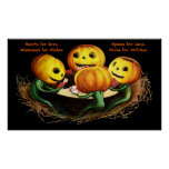 Calabazas en el poster de Halloween de las tarjeta