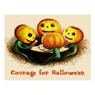 Calabazas en la postal de Halloween del vintage de