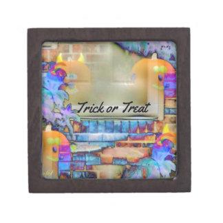 Calabazas fantasmales que flotan en hoja coloreada caja de regalo de calidad