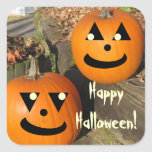 Calabazas lindas del país de Halloween Calcomanias Cuadradas