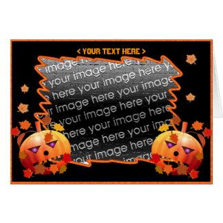 Calabazas locas de Halloween (marco de la foto) Tarjeta De Felicitación