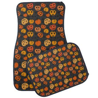 Calabazas retras del fiesta de Halloween Alfombrilla De Coche