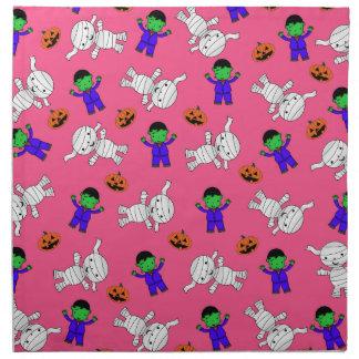Calabazas rosadas lindas de la momia de servilleta imprimida