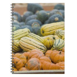 Calabazas y calabaza en la exhibición en el spiral notebooks