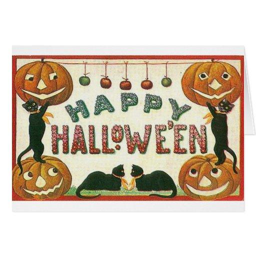 Calabazas y gatos del feliz Halloween Tarjeta De Felicitación