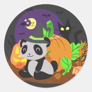 Calabazas y panda de Halloween Pegatina Redonda