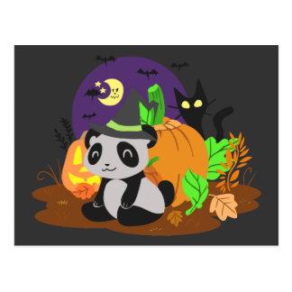 Calabazas y panda de Halloween Postales