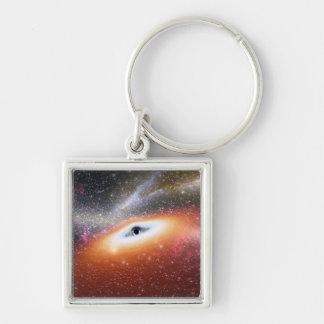 Calabozo en el centro de una galaxia llavero cuadrado plateado