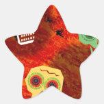 Calacas Felices y Sonrientes Pegatina En Forma De Estrella