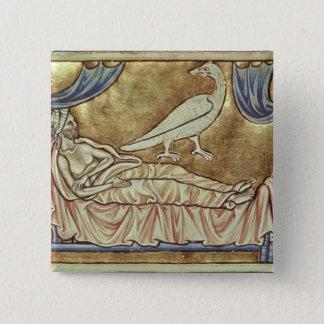 Caladrius bird, reputed to foretell pinback button