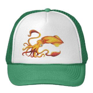 Calamar amarillo brillante con tentáculos gorras
