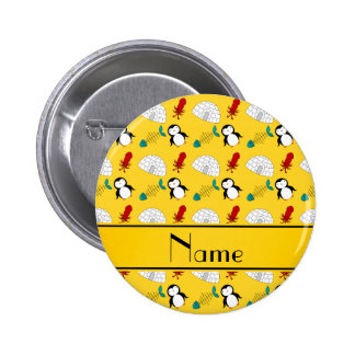 Calamar amarillo conocido personalizado de los pin redondo de 2 pulgadas
