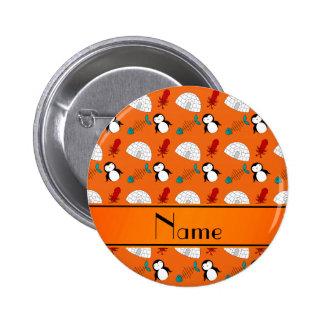 Calamar anaranjado conocido personalizado de los pin redondo de 2 pulgadas