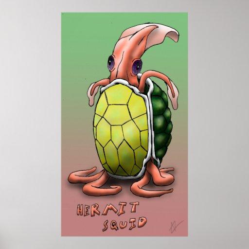 Calamar del ermitaño - tortuga póster
