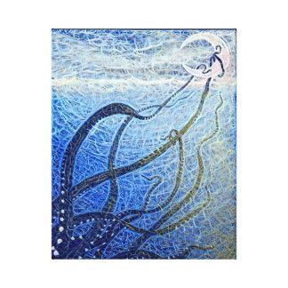 Calamar en la impresión de la lona de la noche lienzo envuelto para galerías