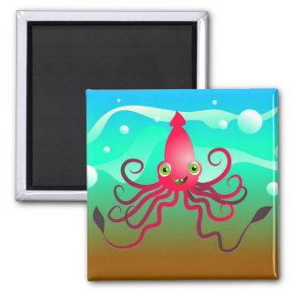 Calamar feliz imán cuadrado
