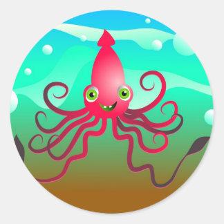 Calamar feliz pegatina redonda