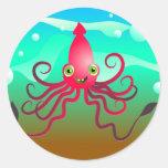 Calamar feliz pegatinas redondas