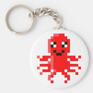 Calamar feliz rojo del pixel llavero redondo tipo pin