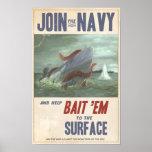 Calamar gigante contra el submarino poster