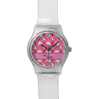 Calamar rosado conocido personalizado de los reloj