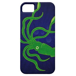 Calamar texturizado verde claro en un océano azul iPhone 5 cárcasa