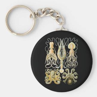 Calamar y pulpo llavero redondo tipo pin