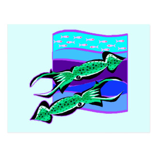 Calamares verdes tarjetas postales