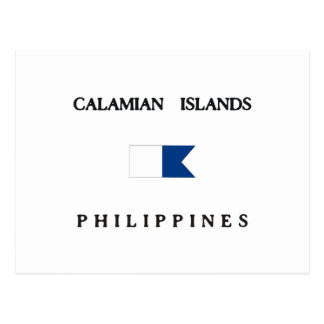 Calamian Islands Philippines Alpha Dive Flag Postcard