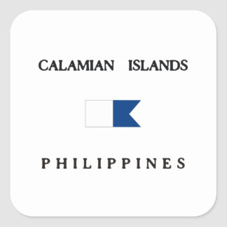 Calamian Islands Philippines Alpha Dive Flag Square Sticker