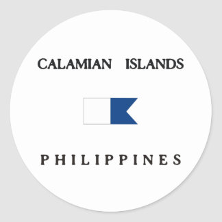 Calamian Islands Philippines Alpha Dive Flag Classic Round Sticker