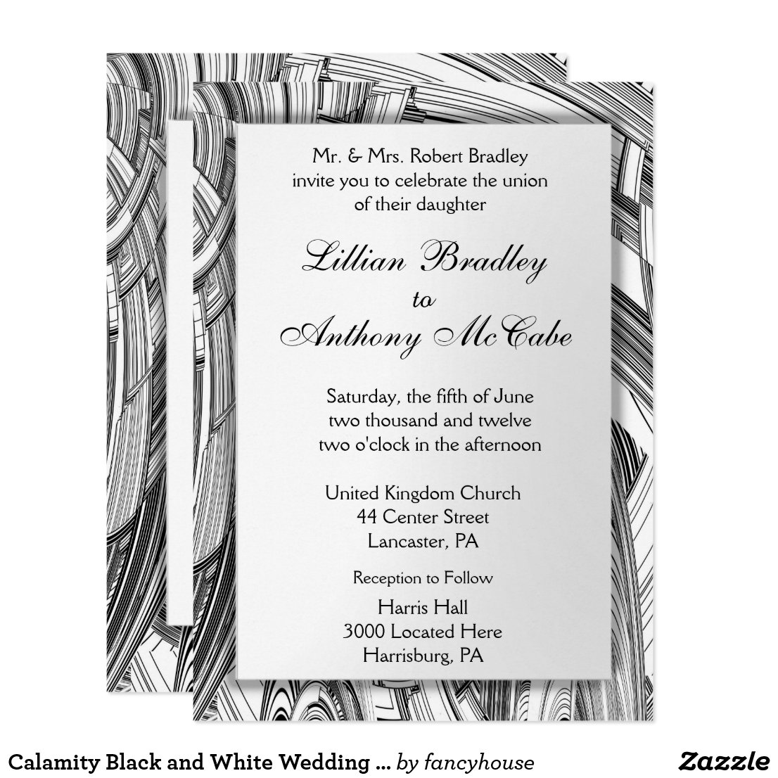 Calamity Black and White Wedding Invitation