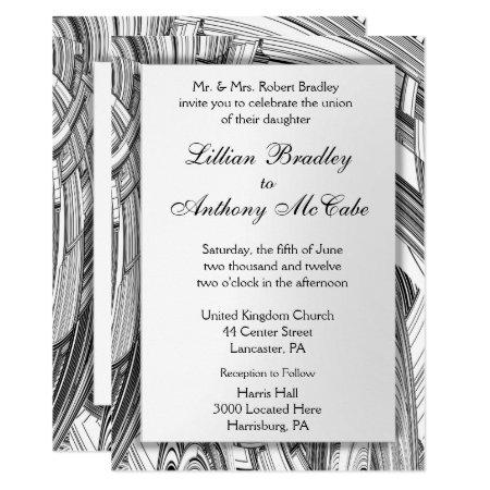Calamity Black and White Wedding Invitation
