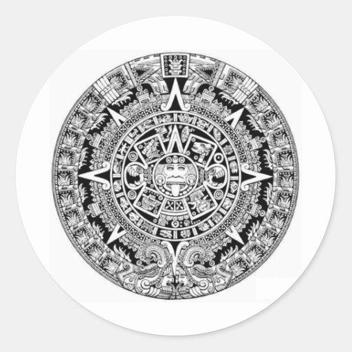 Calander maya etiquetas redondas