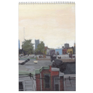 Calander of random paintings by Jeanine Leclaire Wall Calendar