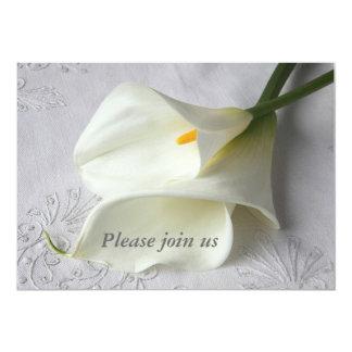 calas blancas en la invitación de lino del boda