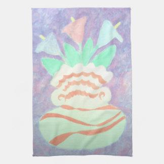 Calas coloridas en la pintura del florero toalla de mano