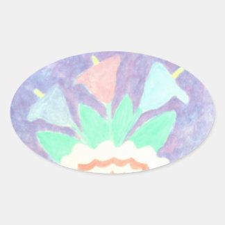 Calas coloridas en la pintura del florero pegatina ovalada