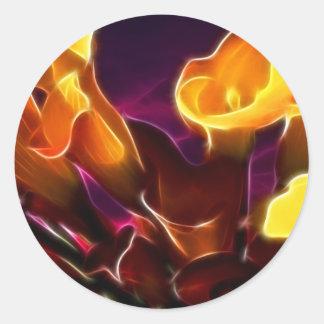 Calas púrpuras oscuras frescas pegatina redonda
