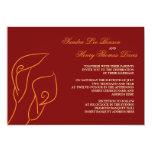 Calas rojas y anaranjadas que casan la invitación invitación 12,7 x 17,8 cm