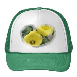Calas y corazones amarillos gorras de camionero