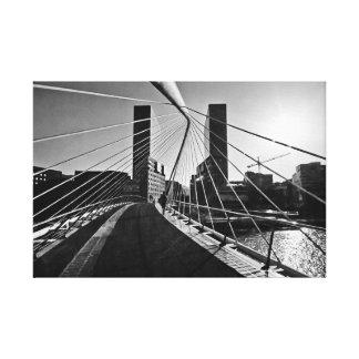 Calatrava bridge and Isozaki towers in Bilbao Canvas Print