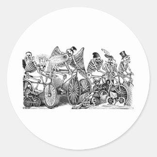 Calavera Bicyclists circa late 1800 s Mexico Round Stickers