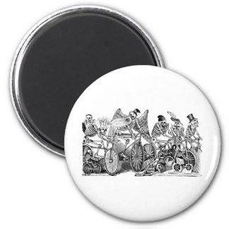 Calavera Bicyclists circa late 1800's Mexico 2 Inch Round Magnet