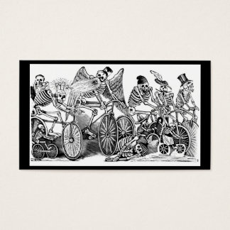 Calavera Bicyclists circa late 1800's Mexico Business Card