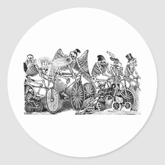 Calavera Bicyclists circa late 1800's Mexico Classic Round Sticker